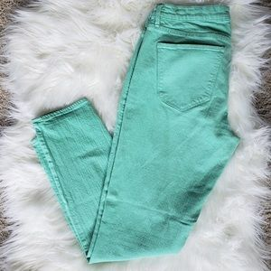 Mint Green Madewell ankle skinny jeans